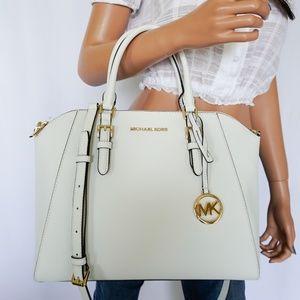 Michael Kors Ciara L Satchel Bag Optic White